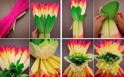 De jolies fleurs en papier crépon