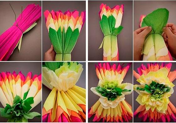 Cette image montre une fleur en papier crépon
