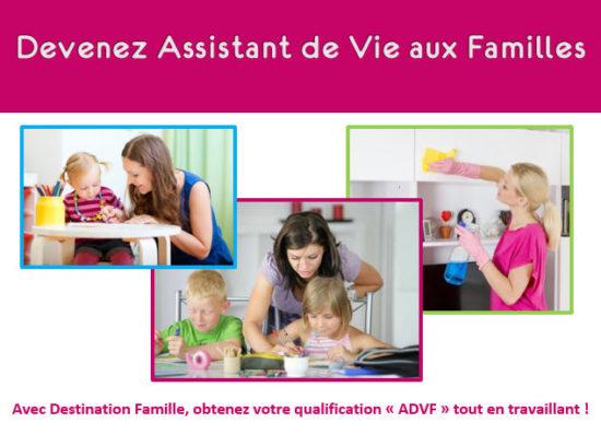 Cette image fait la promotion du contrat pro Assistant de vie aux familles chez Destination Famille
