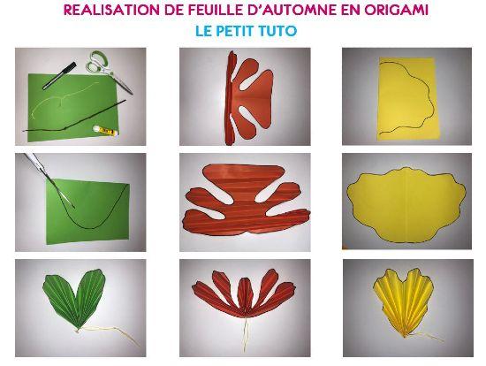 Cette image montre un tutoriel pour réaliser des feuilles en origami